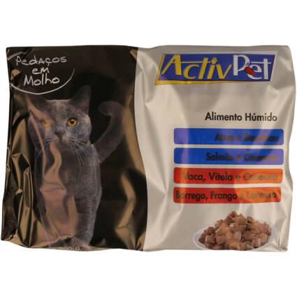 Alimento húmido mix de peixe e carne em molho 4x100gr - Supermercado - Animais