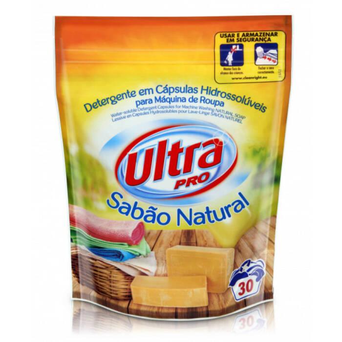 Detergente Máquina da Roupa Cápsulas Ultra Pro Sabão Natural 30 doses - Supermercado - Cuidar da casa