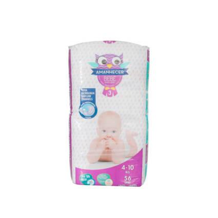Fraldas Amanhecer Tamanho 3 (4-10kg) 56un - Supermercado - Bebés