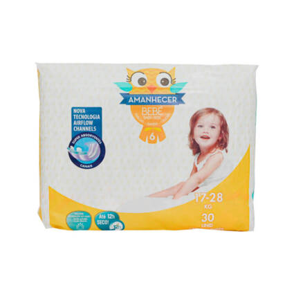 Fraldas Amanhecer Tamanho 6 (+17kg) 30un - Supermercado - Bebés